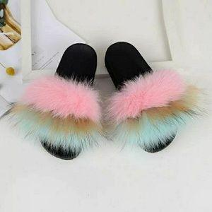 Fluffy fox fur slides